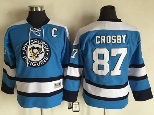Penguins #87 Sidney Crosby Blue CCM Throwback Stitched Youth NHL Jersey