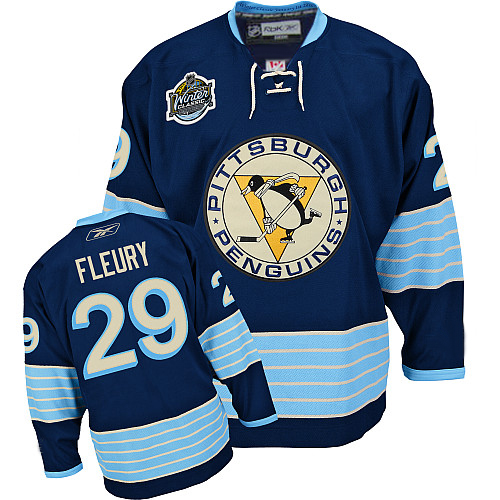 Penguins #29 Andre Fleury 2011 Winter Classic Vintage Stitched Dark Blue Youth NHL Jersey