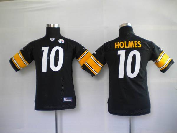 Steelers #10 Santonio Holmes Black Stitched Youth NFL Jersey
