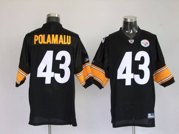 Steelers #43 Troy Polamalu Black Stitched Youth NFL Jersey