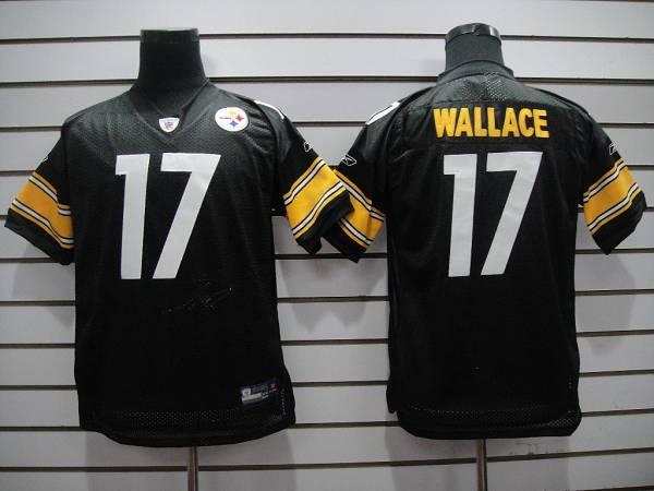 Steelers #17 Mike Wallace Black Color Stitched Youth NFL Jersey
