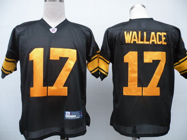 Steelers #17 Mike Wallace Black With Yellow Number Stitched Youth NFL Jersey