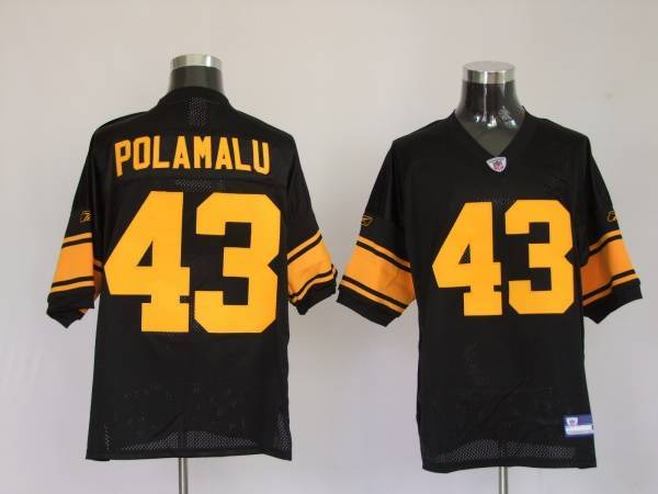 Steelers #43 Troy Polamalu Black With Yellow Number Stitched Youth NFL Jersey