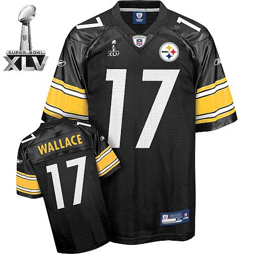 Steelers #17 Mike Wallace Black With Yellow Number Super Bowl XLV Stitched Youth NFL Jersey