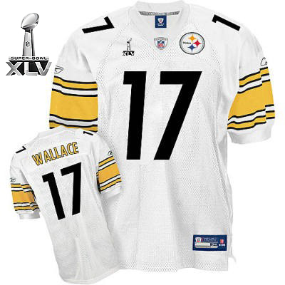 Steelers #17 Mike Wallace White Super Bowl XLV Stitched Youth NFL Jersey