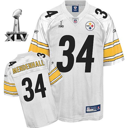 Steelers #34 Rashard Mendenhall White Super Bowl XLV Stitched Youth NFL Jersey