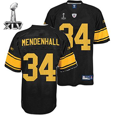 Steelers #34 Rashard Mendenhall Black With Yellow Number Super Bowl XLV Stitched Youth NFL Jersey