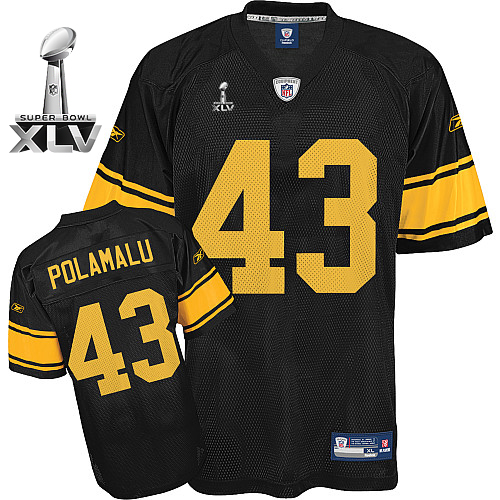 Steelers #43 Troy Polamalu Black With Yellow Number Super Bowl XLV Stitched Youth NFL Jersey