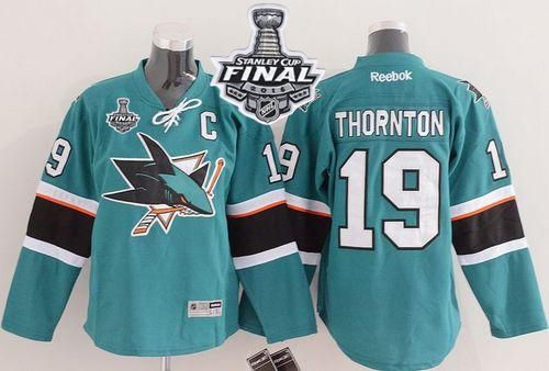 Sharks #19 Joe Thornton Green 2016 Stanley Cup Final Patch Stitched Youth NHL Jersey