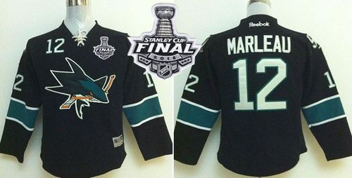 Sharks #12 Patrick Marleau Black 2016 Stanley Cup Final Patch Stitched Youth NHL Jersey