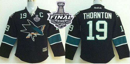 Sharks #19 Joe Thornton Black 2016 Stanley Cup Final Patch Stitched Youth NHL Jersey