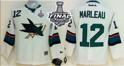 Sharks #12 Patrick Marleau White 2016 Stanley Cup Final Patch Stitched Youth NHL Jersey