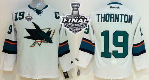 Sharks #19 Joe Thornton White 2016 Stanley Cup Final Patch Stitched Youth NHL Jersey