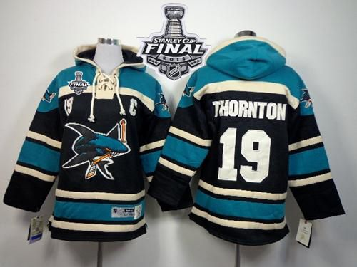 Sharks #19 Joe Thornton Black Sawyer Hooded Sweatshirt 2016 Stanley Cup Final Patch Stitched Youth NHL Jersey