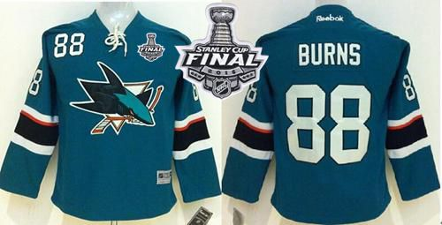 Sharks #88 Brent Burns Green 2016 Stanley Cup Final Patch Stitched Youth NHL Jersey