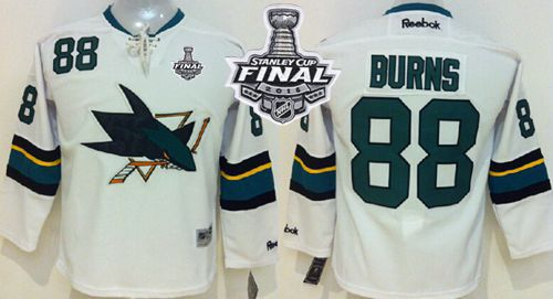 Sharks #88 Brent Burns White 2016 Stanley Cup Final Patch Stitched Youth NHL Jersey