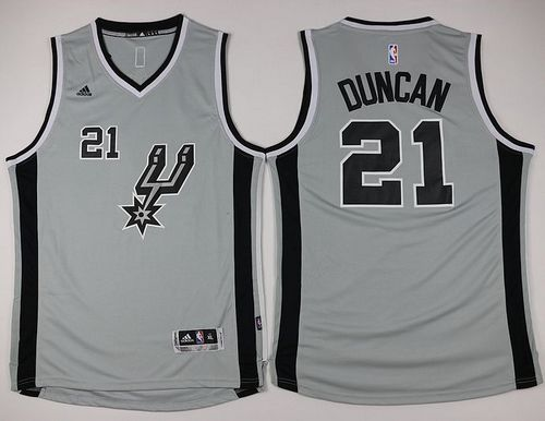 Spurs #21 Tim Duncan Grey Youth Stitched NBA Jersey