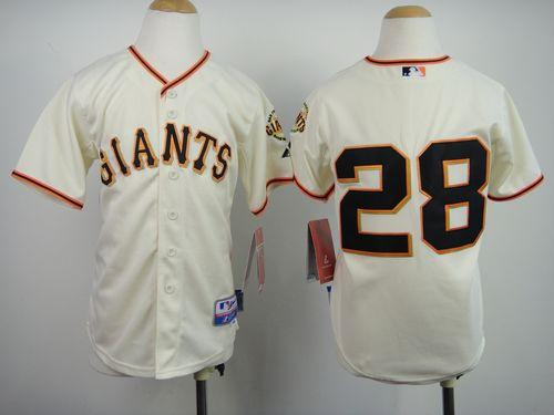 Giants #28 Buster Posey Cream Stitched Youth MLB Jersey