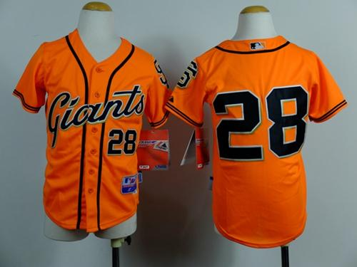 Giants #28 Buster Posey Orange Stitched Youth MLB Jersey
