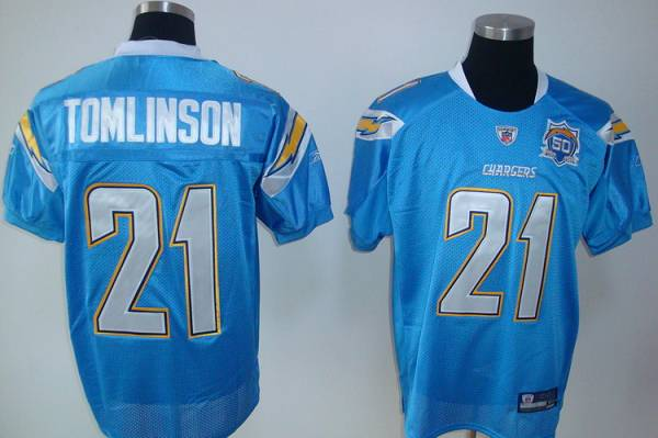 Chargers #21 LaDainian Tomlinson Baby Blue Team 50TH Patch Stitched Youth NFL Jersey