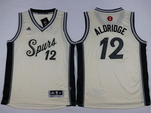 Spurs #12 LaMarcus Aldridge Cream 2015-2016 Christmas Day Youth Stitched NBA Jersey