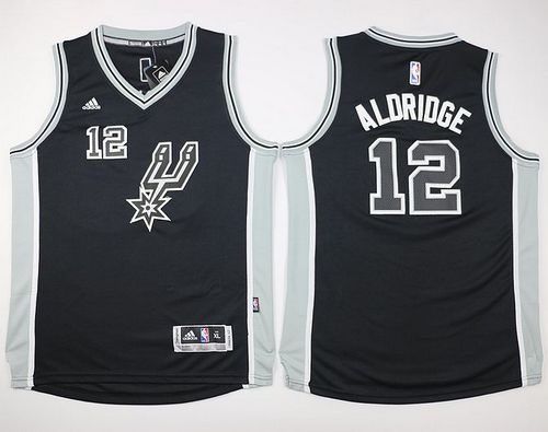 Spurs #12 LaMarcus Aldridge Black New Road Youth Stitched NBA Jersey