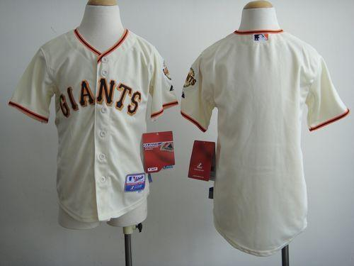 Giants Blank Cream Cool Base Stitched Youth MLB Jersey