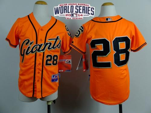 Giants #28 Buster Posey Orange W/2014 World Series Patch Stitched Youth MLB Jersey