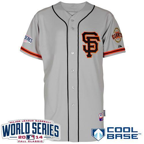 Giants Blank Grey Road 2 Cool Base W/2014 World Series Patch Stitched Youth MLB Jersey