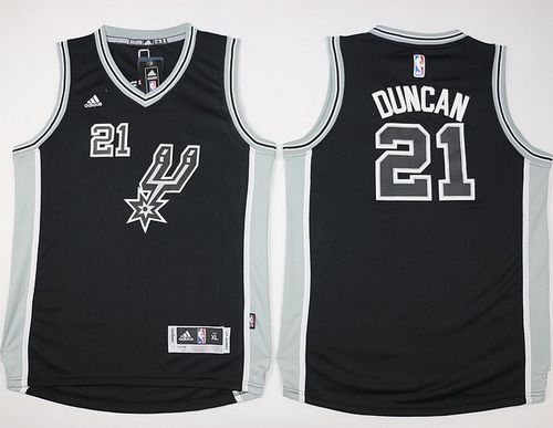 Spurs #21 Tim Duncan Black New Road Youth Stitched NBA Jersey