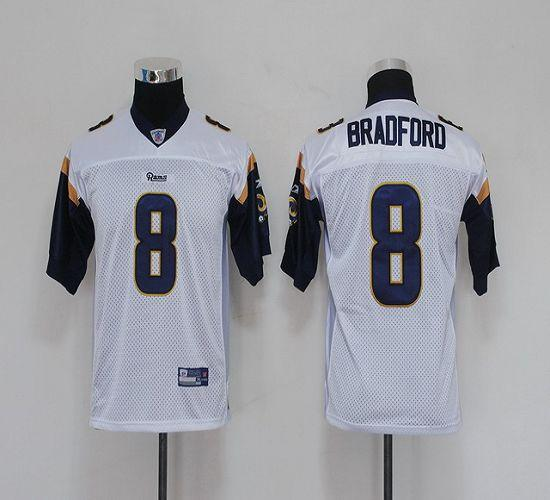 Rams #8 Sam Bradford White Stitched Youth NFL Jersey