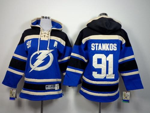 Lightning #91 Steven Stamkos Royal Blue Sawyer Hooded Sweatshirt Stitched Youth NHL Jersey