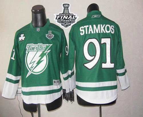 Lightning #91 Steven Stamkos Green St Patty's Day 2015 Stanley Cup Stitched Youth NHL Jersey
