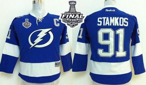 Lightning #91 Steven Stamkos Royal Blue 2015 Stanley Cup Stitched Youth NHL Jersey