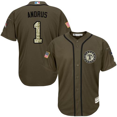 Rangers #1 Elvis Andrus Green Salute to Service Stitched Youth MLB Jersey