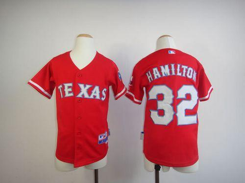 Rangers #32 Josh Hamilton Red 2010 World Series Patch Stitched Youth MLB Jersey