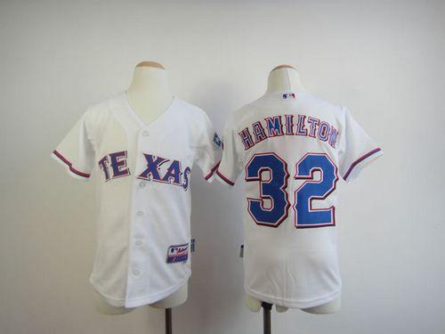 Rangers #32 Josh Hamilton White 2010 World Series Patch Stitched Youth MLB Jersey