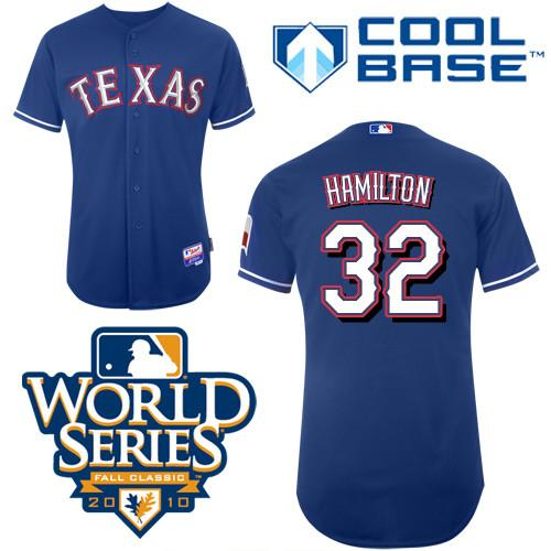 Rangers #32 Josh Hamilton Blue 2010 World Series Patch Stitched Youth MLB Jersey
