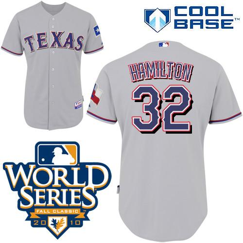 Rangers #32 Josh Hamilton Grey 2010 World Series Patch Stitched Youth MLB Jersey