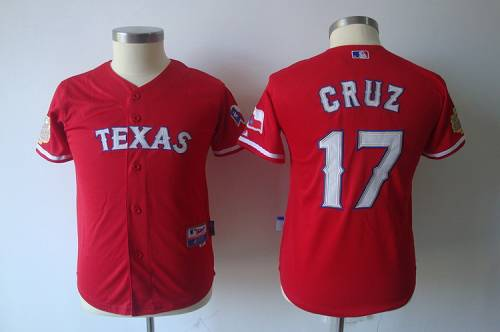 Rangers #17 Cruz Red 2011 World Series Patch Stitched Youth MLB Jersey