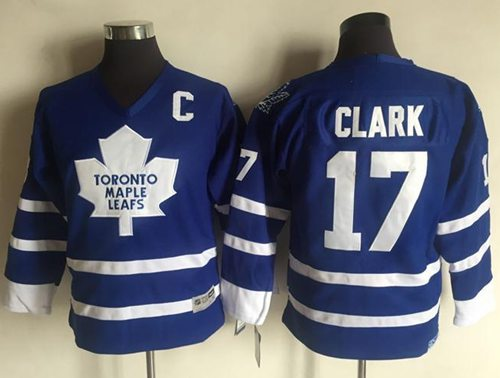 Maple Leafs #17 Wendel Clark Blue CCM Throwback Stitched Youth NHL Jersey