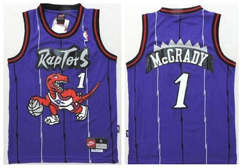 Raptors #1 Tracy Mcgrady Purple Throwback Youth Stitched NBA Jersey