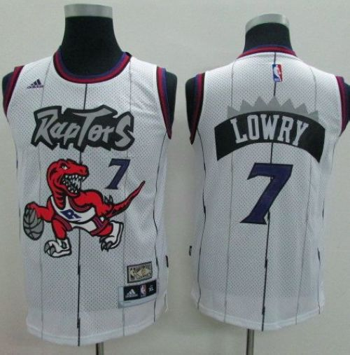 Raptors #7 Kyle Lowry White Throwback Youth Stitched NBA Jersey