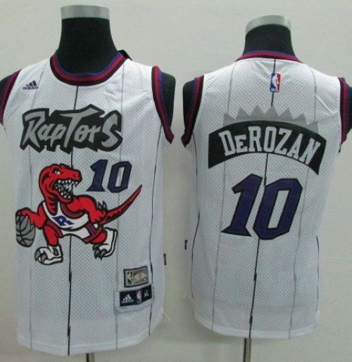 Raptors #10 DeMar DeRozan White Throwback Youth Stitched NBA Jersey