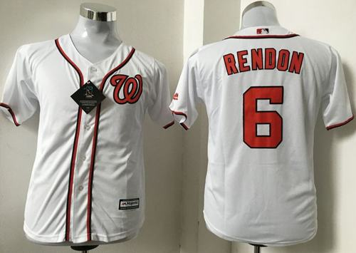 Nationals #6 Anthony Rendon White Cool Base Stitched Youth MLB Jersey