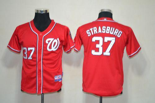 Nationals #37 Stephen Strasburg Red Stitched Youth MLB Jersey