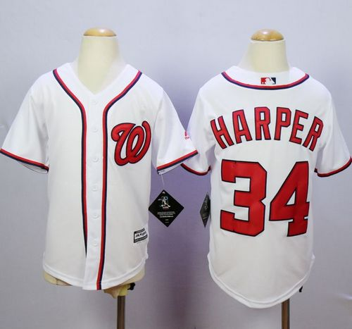 Nationals #34 Bryce Harper White Cool Base Stitched Youth MLB Jersey