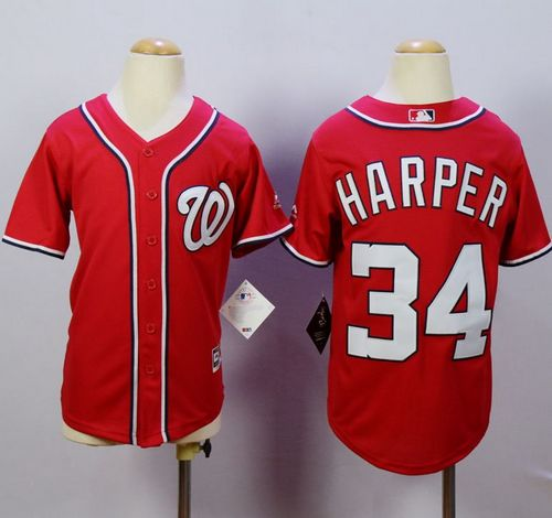 Nationals #34 Bryce Harper Red Cool Base Stitched Youth MLB Jersey