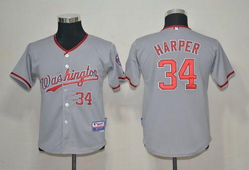 Nationals #34 Bryce Harper Grey Cool Base Stitched Youth MLB Jersey