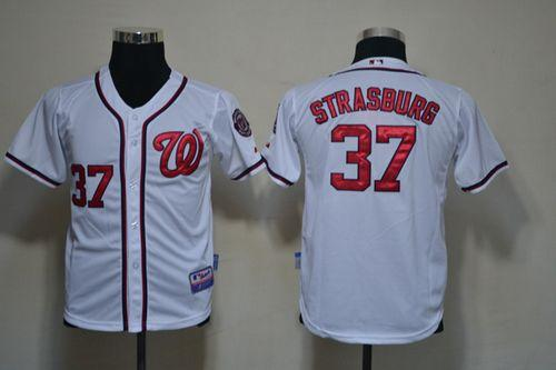 Nationals #37 Stephen Strasburg White Cool Base Stitched Youth MLB Jersey